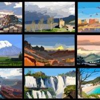 festészeti szakos tanulóink digitális technikával készült tájképei montázsban
