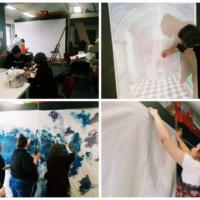 dekoratőr tanulók színházi díszletet készítenek montázs