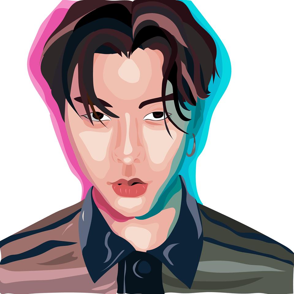 vektorgrafika színes portré