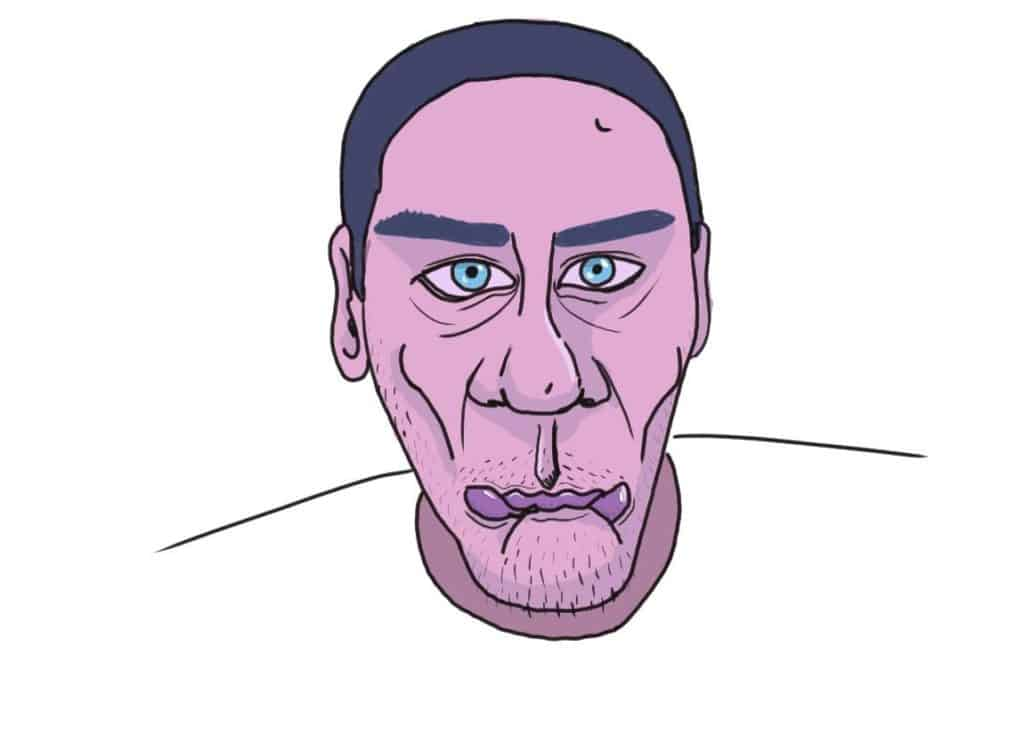 férfi portré lila digitális rajz