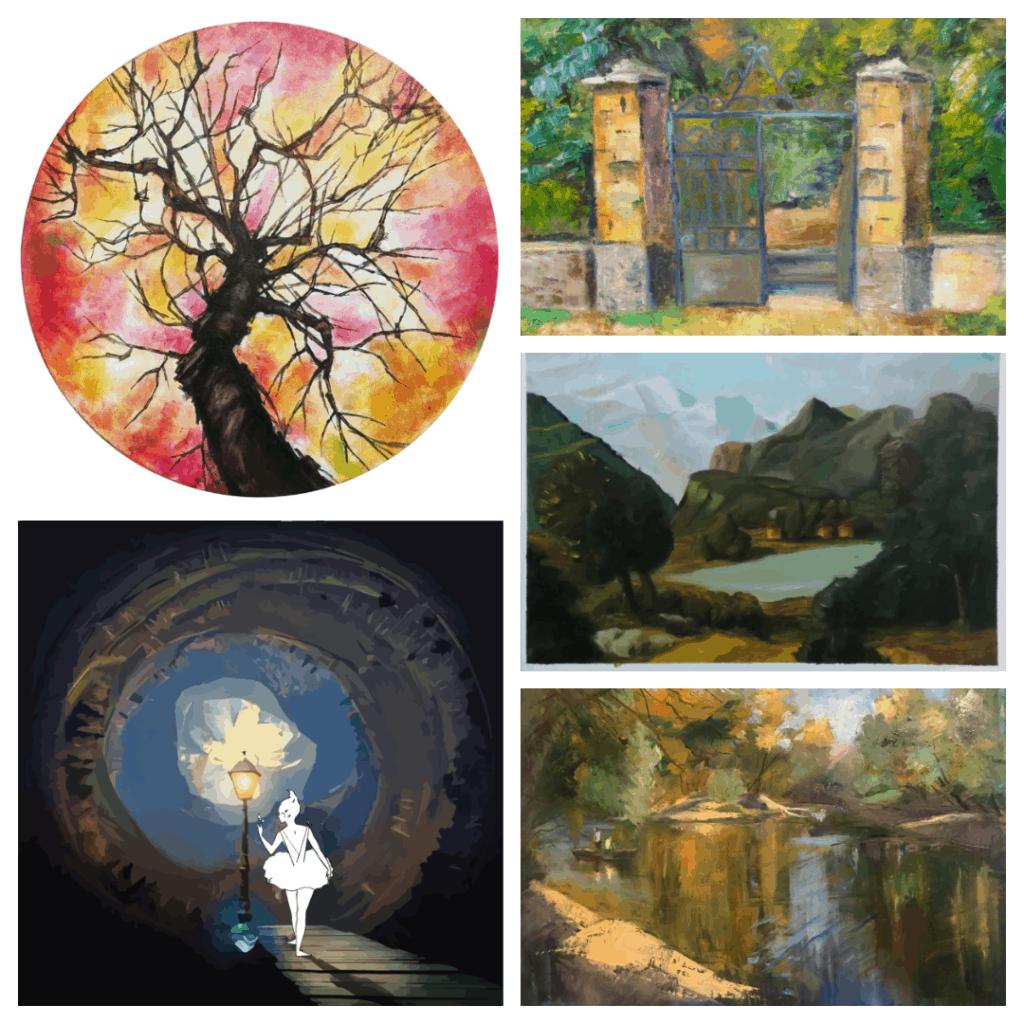 klasszikus tájkép festmények montázs