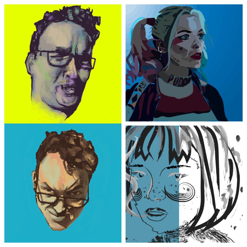 vektorgrafika színes portrék montázs