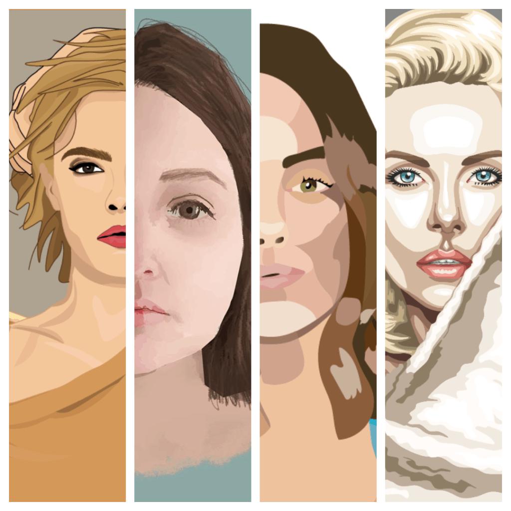 női portrék vektorgrafika