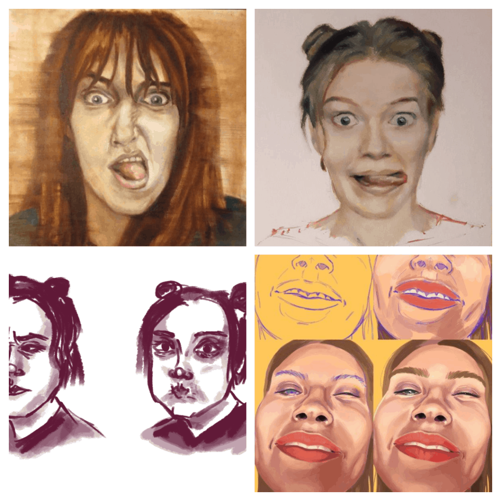 grimaszoló női arcok montázs