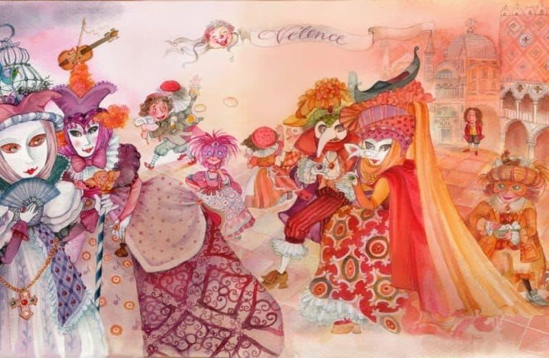 vivaldi négy évszak illsuztráció velencei karnevált ábrázoló színes festmény