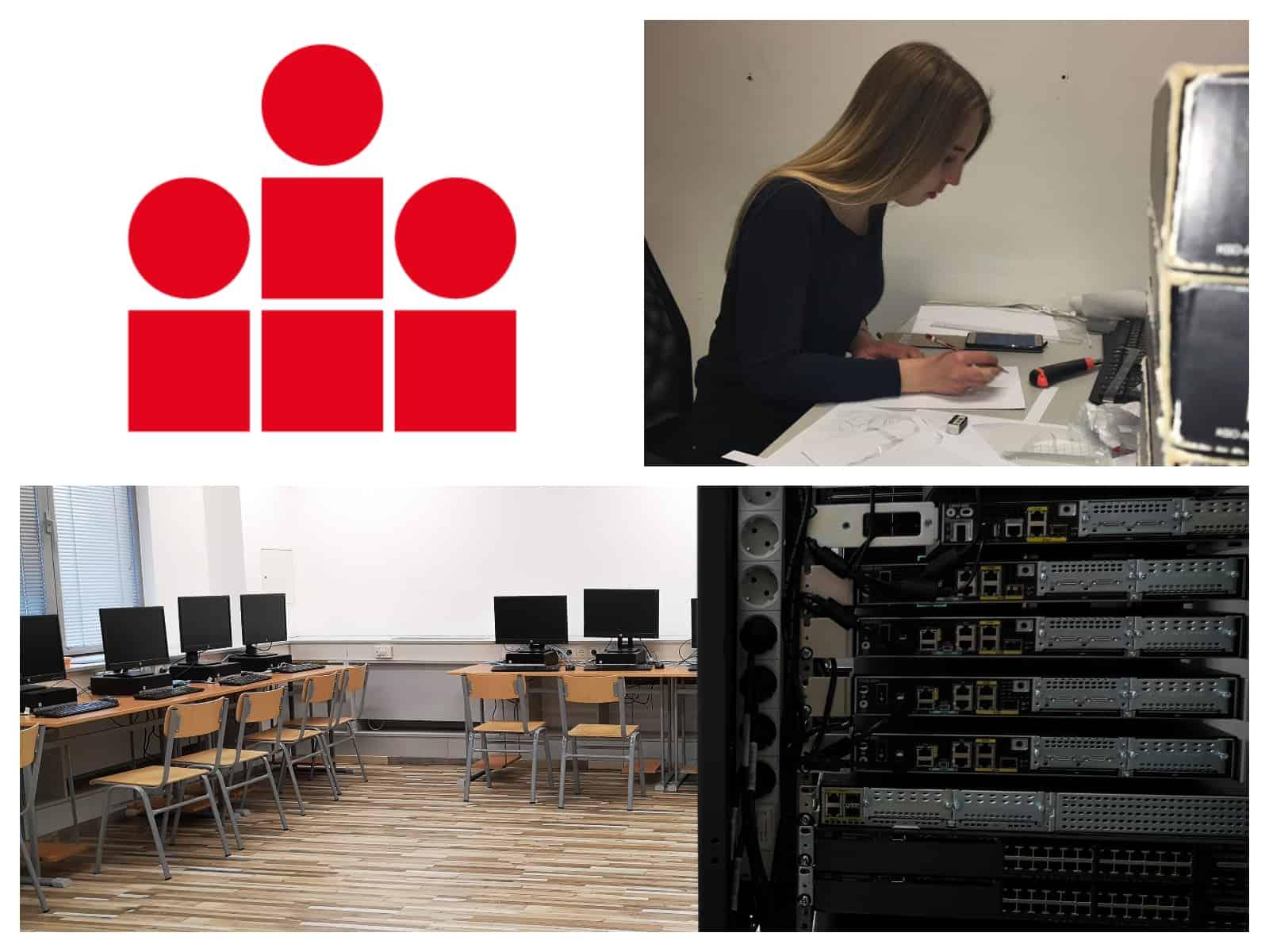 informatikai szakos tanuló órai munka közben, iskola logója, informatika tanterem